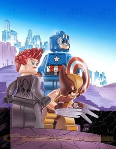 LEGO Black Widow, Wolverine, & Captain America by Leo Castelli *