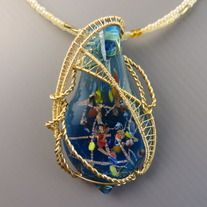 MTS blue European lampwork pendant creation | One-of-a-kind | Glass lampwork | Quality non-tarnish gold wires from US | Dimension 4cm x 7cm.  Comes with glass beaded necklace in gold tone and 14kt gold-filled clasps. Length 55cm long. Removable and interchangeable with MTS pendants/wear on its ...