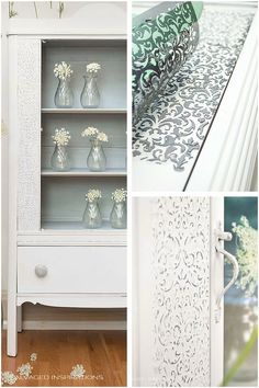 Create a Raised Stencil Design on Plain Furniture. Painted in Dixie Belle's Fluff and Manatee Gray w white Wax for the interior. | Salvaged Inspirations