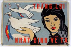 Hand Painted Vietnamese Propaganda Poster Girl Doves by Wanderloot
