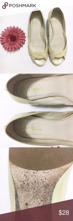 """Cole Haan Beige Nike Air Flats Size 6.5 Beige Nike Air flats from Cole Haan. Slightly raised heel. 8.75"""" sole, 1.25"""" height heel. Used in good condition, small peeling on the back of one shoe. Size 6.5. Cole Haan Shoes Flats & Loafers"""