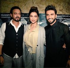 @DeepikaPadukone , Irrfan Khan & @RanveerSingh at Madaari Screening this evening.