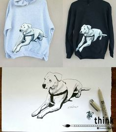 Handpainted dogo argentino illustration on hoodies.