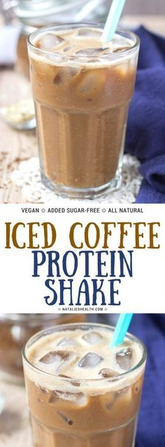 Iced Coffee Protein Shake is perfect breakfast wake-me-up drink. It's nutrient-packed, satisfying, and super HEALTHY made with only NATURAL real ingredients. NO store-bought protein powders. NO artificial sweeteners. Completely added sugar-free. Vegan. Gluten-free.#coffee #workout #protein #smoothie #healthy #healthyrecipes #weightlossrecipes #recipe #recipeoftheday #drink #drinkrecipes #whole30 #vegan #veganrecipes | NATALIESHEALTH.com #naturalprotein Coffee Protein Shakes, Protein Powder Coffee, Coffee Protein Smoothie, Natural Protein Shakes, Natural Protein Powder, Iced Coffee Protein Shake Recipe, Whole 30 Protein Powder, Homemade Protein Shakes, Protein Powder Shakes