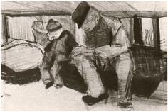 """Vincent van Gogh: """"Man and Boy Sitting under a Roof"""" Drawing, Pencil The Hague: April, 1882 Location unknown Vincent Van Gogh, Van Gogh Drawings, Van Gogh Paintings, Alphonse Mucha, Pablo Picasso, Charles Gleyre, Van Gogh Arte, Pierre Auguste Renoir, Edouard Manet"""
