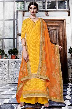 Yellow & orange georgette modish kameez with v neck -SL4111 | buy designer salwar kameez online India | #glorious #impressive #lavish #luxurious #opulent #pleasing