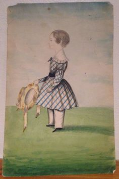 "Antique Early 19th Century Folk Art Watercolor Painting Child Portrait"" #FolkArt"