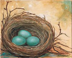 Nest painting  robins Eggs titled NESTING by grafittigirl on Etsy, $50.00