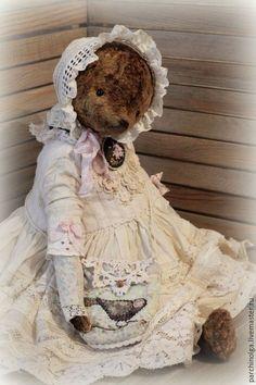 Купить Антуанетта - бежевый, тедди, тедди мишка, мишка ручной работы, мишка девочка
