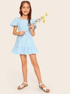 To find out about the Girls Square Neck Ruffle Hem Belted Dress at SHEIN, part of our latest Girls Dresses ready to shop online today! Cute Girl Dresses, Girls Party Dress, Cute Girl Outfits, Baby Dress, Girls Fashion Clothes, Tween Fashion, Little Girl Fashion, Fashion Outfits, Girls Tulle Skirt