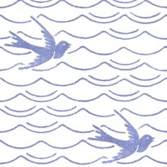 Birds Upon The Sea ~ Blue & White ~ by PeacoquetteDesigns on Spoonflower ~ bespoke fabric, wallpaper, wall decals & gift wrap ~ Join PD  ~ https://www.Peacoquette.com  #Spoonflower #Peacoquette