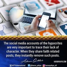 The social media accounts of the hypocrites are very important to trace their lack of character. When they share faith related posts, they instantly remove such posts. #tv #broadcast en.a9.com.tr #islam #God #quran #Muslim #books #adnanoktar #istanbul #islamicquote #quote #love #Turkey #art #fashion #music #luxury #photoshoot #photooftheday #worldwide #london #newyork #hypocrites #media