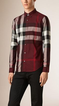 Claret Giant Exploded Check Cotton Shirt - Image 1
