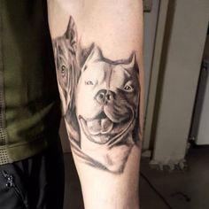 Dog portrait tattoo. Pitbull tattoo. Realistic tattoo. by Emre Dizici