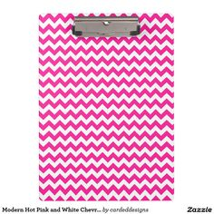 Modern Hot Pink and White Chevron Clipboards