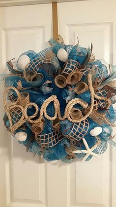 Beach deco mesh wreath … Beach Wreaths, Coastal Wreath, Nautical Wreath, Wreaths And Garlands, Burlap Wreaths, Deco Mesh Wreaths, Wreath Crafts, Diy Wreath, Beach Christmas