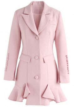 Classy Vogue Peplum Coat Dress in Pink - Retro, Indie and Unique Fashion Peplum Coat, Blazer Dress, Coat Dress, Royal Dresses, Peplum Dresses, Pink Dress, Bandage Dresses, Party Dresses, Casual Dresses