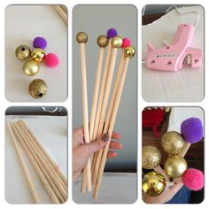 DIY classroom pointers. Pompoms, Christmas ornaments, wooden dowels and hot glue! Amazing! And soo easy.