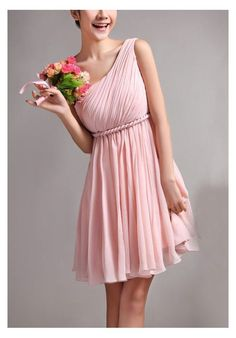 Simple Pink Chiffon Short Bridesmaid Dress, Above Knee Length Cheap Bridesmaid Dresses,One Shoulder Bridesmaid Dress, Homecoming Dress, Prom Dresses Graduation Dress