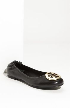 Tory Burch 'Reva' Ballerina Flat $195-25%  Signature logo medallion tops the rounded toe of a classic flat.  Elasticized heel.  Leather upper and lining/rubber sole.  Imported.  Salon Shoes.