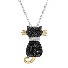 Duet CT Black & White Diamond Two-Tone Cat Pendant Necklace in Gold & Sterling Silver, Women's, Size: 18 inch Cat Necklace, Necklace Types, Stud Earrings, Pendant Necklace, Black Diamond, Diamond Cuts, Argent Sterling, Sterling Silver, Colored Diamonds