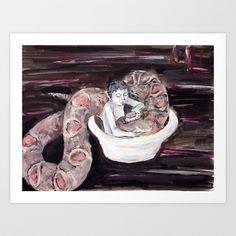 Washing Mathilda (watercolor) Art Print by Yousef Balat @ Hoop Snake Graphics LLC - $17.00