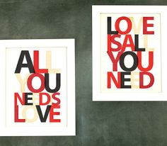 Valentines Gift for Him - All you need is LOVE, LOVE is all you need - Set choose your colors, Beatles Lyrics