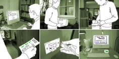 A storyboarded scenario can be a great way to prototype an experience beyond the screen and hardware. These illustrations are part of a narrated presentation used to convey the vision of a whole eco service concept. You can watch the video presentations on the Cooper Journal.