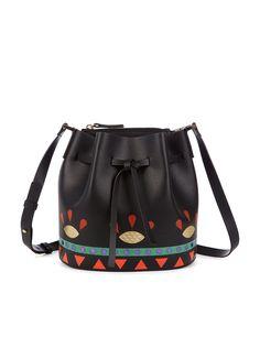 LES PETITS JOUEURS Black Leather Daliah Bucket Bag.  lespetitsjoueurs  bags   shoulder bags  leather  denim  bucket   b7b4e2f55e516
