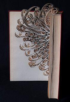 "*Paper Sculpture - ""Hokusai"" by Sue Platt (Altered Book) Folded Book Art, Paper Book, Book Folding, Paper Art, Cut Paper, Old Book Crafts, Book Page Crafts, Book Page Art, Kirigami"