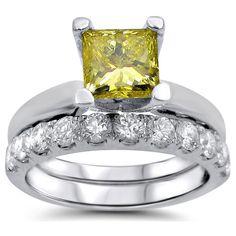 Noori 14k Gold 1 4/5ct TDW Canary Yellow Princess-cut Diamond Bridal Set