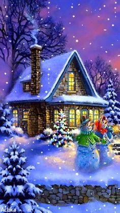 Wielki Boże Narodzenie animacja domu Bożego - Dwa bałwanki w śniegu do domu śniegu