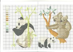 panda et koala * point de croix * cross stitch panda and koala