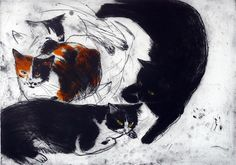 Three Cats, Elizabeth Blackadder.