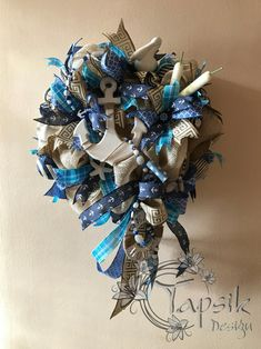 Unique Wreaths, Ornaments, Signs and Centerpieces by TapsikDesign Handmade Home Decor, Handmade Decorations, Handmade Crafts, Wreaths For Front Door, Door Wreaths, Anchor Wreath, Nautical Nursery Decor, Coastal Decor, Seahorse Art