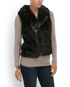 Paige Faux Fur Biker Vest - Women - T.J.Maxx