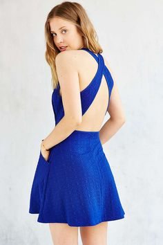 Silence + Noise Cross-Back Textured Knit Dress, blue | Urban Outfitters