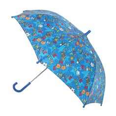 This sports theme print features football, baseball, soccer and basketball. This is a great umbrella for your little boy's walk to school or rainy day activities. This stick umbrella features a safety tested metal shaft and frame. The pinch proof runner is meant to help keep small fingers safe when opening and closing. Canopy is 34 inch dome and 22.5 inches when closed in length.