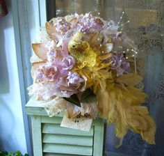 SOLD!! Now On Etsy At Louzart - Grunge Urban Upcycled Wedding Bouquet Victorian by louzart on Etsy, $50.00