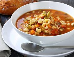 A bountiful dish that is eaten every day for lunch by the some of the world's longest-livedfamilies in Sardinia, Italy. It can be made with seasonal vegetablesfrom the garden, but always includes beans and fregula, a toasted pebble-size semolina pasta that is popular in Sardina. Serves 8-10
