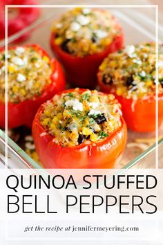 Beautiful red bell peppers stuffed with a Mexican style quinoa blend then baked to ooey-gooey perfection. Beautiful red bell peppers stuffed with a Mexican style quinoa blend then baked to ooey-gooey perfection. Stuffed Bell Peppers Quinoa, Red Bell Peppers, Grilled Bell Peppers, Vegetarian Recipes, Cooking Recipes, Healthy Recipes, Top Recipes, Healthy Options, Drink Recipes