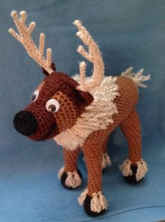"Amigurumi reindeer based on Sven from Disney's ""Frozen."""