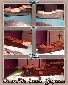 """Cake ship pirate by """"Snoro de beaux Gâteaux"""" bateau de pirate étape par étape"""