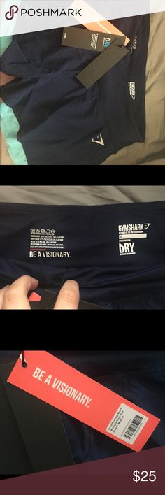 Gym Shark shorts NWT Brand new shorts from gym shark tags still on them:) navy blue wig light blue accents gymshark Shorts