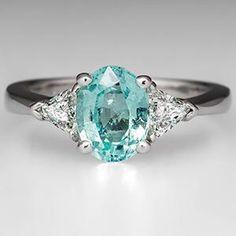 Crazy color Paraiba Color Cuprian Tourmaline Engagement Ring Platinum - EraGem