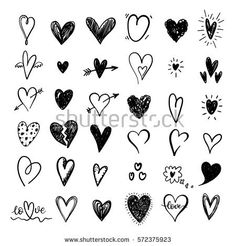 Funny doodle hearts icons collection. Hand drawn Valentines day, wedding design