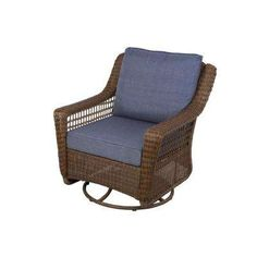 Spring Haven Brown All-Weather Wicker Patio Swivel Rocking Chair with Sky Blue Cushions