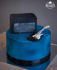 Electric guitar cake with amp Guitar Birthday Cakes, Guitar Cake, 40th Cake, Rock Star Party, Cake Designs, Cake Decorating, Birthdays, Cake Ideas, Amp