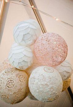 vintage diy lace lanterns for bridal shower decoration ideas