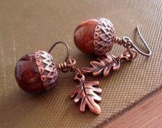 CIj+Acorn+Earrings+Rustic+Acorn+Oak+Leaf+by+RhondasTreasures,+$15.00